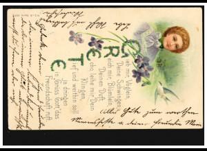 Ansichtskarte Vornamen: Grete, Frauenportrait mit Schwalbe, HÖFLEIN um 1910