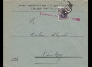 101 Germania 15 Pf als EF auf Brief Kriegswichtig! DILLINGEN 1918 nach Nürnberg