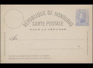 Honduras Antwort Postkarte 3 Centavos POUR LA REPONSE, ungebraucht **