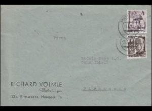 17+32 Freimarken 4+6 Pf. auf Orts-Brief PIRMASENS 7.12.1948