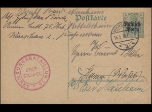 Deutsche Post in Polen Postkarte P 1 WARSCHAU 14.5.1916 mit BS Armierungs-Batl.