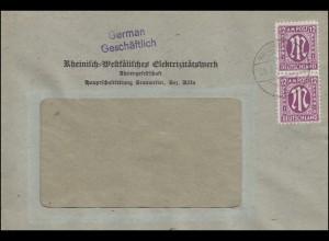 AM-Post 12 Pf Brief Rheinisch-Westfälisches Elektrizitätswerk BRAUWEILER 29.3.46