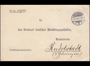 Reichstagsangelegenheit BERLIN 25.5.1903 nach RUDOLSTADT 26.5.03