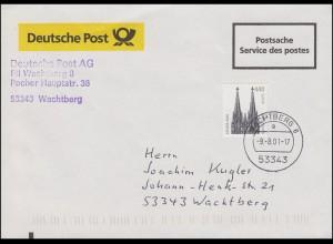 2206 SWK 440 Pf / 225 C. Kölner Dom EF auf Orts-Postsache ET-O WACHTBERG 9.8.01