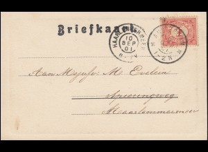 Firmenlochung/Perfin K auf 50 Ziffer EF auf AK Willemspoort AMSTERDAM 9.9.1901