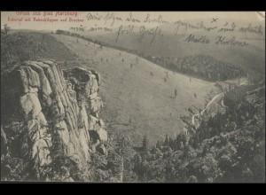 Ansichtskarte Gruss aus Bad Harzburg: Eckertal, Rabenklippen, Brocken, 18.5.16