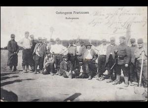 Feldpost auf AK Gefangene Franzosen Ruhepause, MÜNSINGEN ÜBUNGSPLATZ 23.11.1914