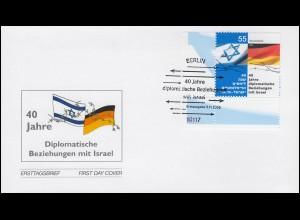 2498 Beziehungen mit Israel - Eckstück auf Schmuck-FDC ESSt Berlin 3.11.2005