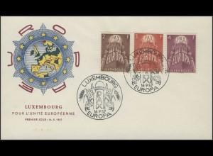 Luxemburg 572-574 Europaunion/CEPT 1957 auf FDC
