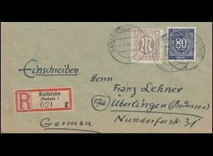 2 AM-Post 4 Pf. mit Gemeinschaft 80 Pf als MiF auf R-Brief KARLSRUHE 9.4.1946
