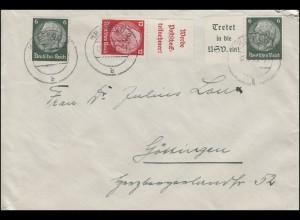 Hindenburg-Zusammendrucke W 84 und W 85 MiF Brief KREFELD 19.12.1939