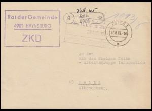 ZKD-Brief Rat der Gemeinde Haynsburg Orts-Brief ZEITZ 27.8.65 an Rat des Kreises