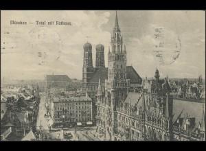 Ansichtskarte Bayern: München Total mit Rathaus, München 21.7.1910