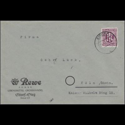 AM-Post 12 Pf EF Brief Rewe Lebensmittel EITORF (SIEG) 24.1.1946 nach Köln