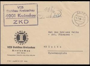 ZKD-Brief VEB Stahlbau Kretzschau Orts-Brief ZEITZ 1.7.66 an den Rat des Kreises