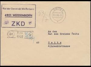 ZKD-Brief Rat der Gemeinde Weißenborn Orts-Bf. ZEITZ 30.6.66 an Rat des Kreises