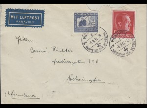 669 Zeppelin 25 Pf + 664 Hitler auf Luftpost-Brief MÜNCHEN 6.9.38 nach Finnland