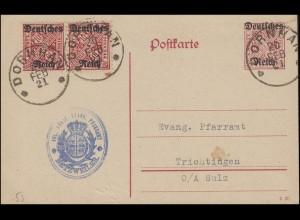 Dienstpostkarte DP 14/01 mit D 58 im Paar von DORNHAM 20.2.21 nach Trichtingen