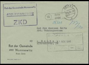 ZKD-Brief vom Rat der Gemeinde Nonnewitz Orts-Brief ZEITZ 15.11.66 an den Rat