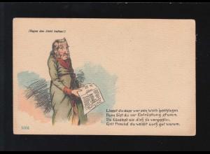 AK Karikatur Liesst du dass wer sein Weib geschlagen Mann Zeitung, ungebraucht