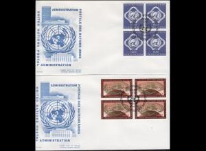 UNO Genf 9-10 Freimarken je als Viererblock, Satz auf 2 Schmuck-FDC GENF 1970