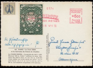 Absenderfreistempel PARIS VII LA TOUR EIFFEL 1951 auf passender AK Eiffelturm
