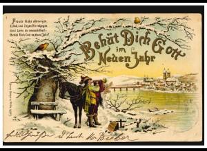 Ansichtskarte Neujahr Trompeter neben Pferd im Winter, HANNOVER 30.12.1900