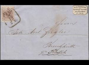 Österreich 4 Wappen 6 Kreuzer Briefhülle Vieleckstempel PRAG 9.12.1854