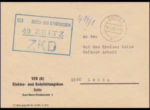 ZKD-Brief VEB Elektro- und Rohrleitungsbau Zeitz als Orts-Brief 13.1.65