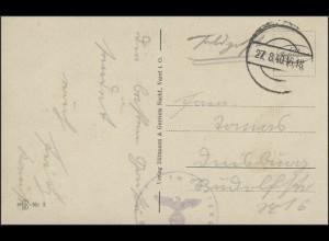 Ansichtskarte Feldpost Varel Mühlenteich, stummer Stempel 27.8.40 Zensur Luftgau