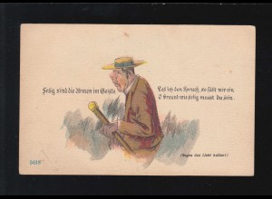 AK Karikatur Selig sind die Armen im Geiste, Mann, Gegen das Licht, ungebraucht