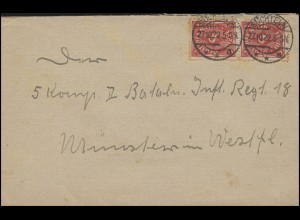 225 Posthorn 3 Mark MeF Brief SÜCHTELN 27.10.22 nach Münster Militäranschrift