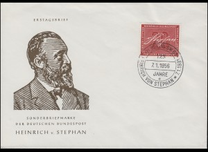 227 Heinrich von Stephan 1956 Schmuck-FDC 2 ESSt BERLIN SW 61 Stephan 7.1.1956
