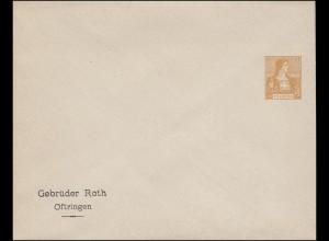 Schweiz Privatganzsache Umschlag Helvetia 12 C. orange, ungebraucht (um 1910)