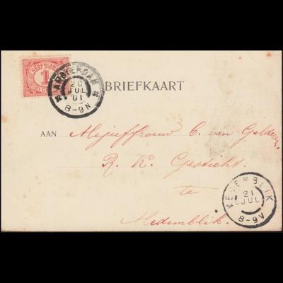 Firmenlochung/Perfin K auf 50 Ziffer auf AK Nymegen Panorama AMSTERDAM 20.6.1901