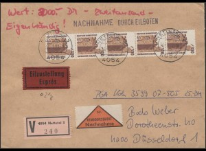 1348 SWK 300 Rollenmarken-5er-Streifen mit Nummer portog. eigen. Eil-NN-Wert-FDC