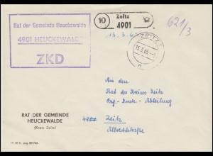 ZKD-Brief Rat der Gemeinde Heuckewalde als Orts-Brief ZEITZ 15.3.65