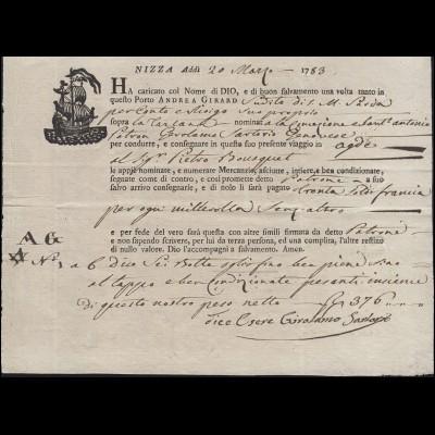 Italien Schiffsbegleitbrief / Connaissemaents von Nizza nach Agde vom 20.3.1783