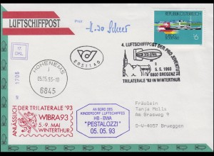 Luftschiffspost DKL 17 PESTALOZZI WIBRA93 Winterthur FDC ESSt Bregenz 5.5.1993
