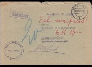Portopflichtige Dienstsache Denazifizierungskammer BÜNDE / WESTF. 12.10.1948