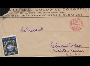 Briefvordrseite NATIONAL GOODWILL CONGRESS mit SSt BUDAPEST 7.4.1936 in die USA
