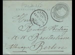Ägypten Umschlag Pyramide 1 Piaster von ALEXANDRIA nach BERLIN 20.3.1902