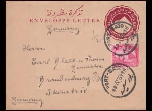 Ägypten Umschlag Pyramide 5 Mill. mit passender Zusatzfr. PORT SAID 22.4.1907