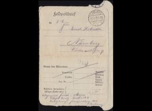 Feldpost Fernsprechlehrgang COBLENZ 12.12.1915 nach Nürnberg