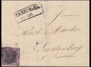 Baden 4 Ziffer 9 Kreuzer auf Brief Nummernstempel 24 CARLSRUHE 21.4.1858