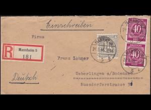 2 AM-Post 4 Pf. mit Gemeinschaft 40 Pf als MiF auf R-Brief MANNHEIM 20.3.1946
