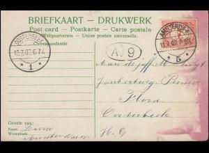 Firmenlochung/Perfin K auf 50 Ziffer EF auf AK Thorbeckeplein AMSTERDAM 11.7.07