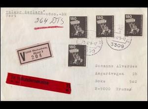 UNO Genf 10 Freimarke 10,00 Fr als ER-Viererblock o.r. auf Schmuck-FDC GENf 1970