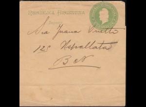 Argentinien Streifband 3 Cent. grün, BUENOS AIRES 30.11.1889
