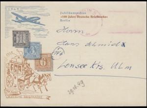 Berlin: Aptierter Absenderfreistempel AFS auf Schmuck-PK BERLIN 29.10.1949